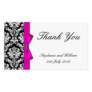 Cartões de agradecimentos cor-de-rosa do casamento cartao de visita