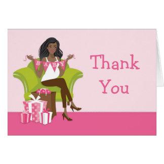 Cartões de agradecimentos cor-de-rosa do chá de