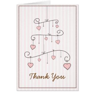 Cartões de agradecimentos cor-de-rosa do móbil do