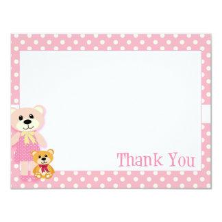 Cartões de agradecimentos cor-de-rosa do urso de convite personalizado