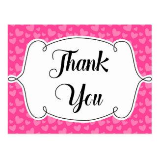 Cartões de agradecimentos cor-de-rosa dos corações cartão postal