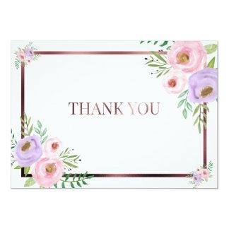 Cartões de agradecimentos cor-de-rosa e