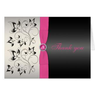 Cartões de agradecimentos cor-de-rosa e pretos
