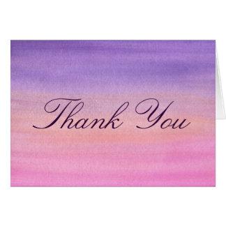 Cartões de agradecimentos cor-de-rosa e roxos da