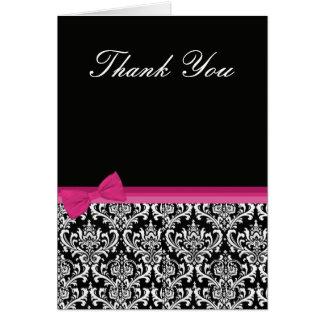 Cartões de agradecimentos cor-de-rosa & pretos do