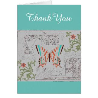 Cartões de agradecimentos da arte da borboleta