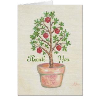 Cartões de agradecimentos da árvore de romã
