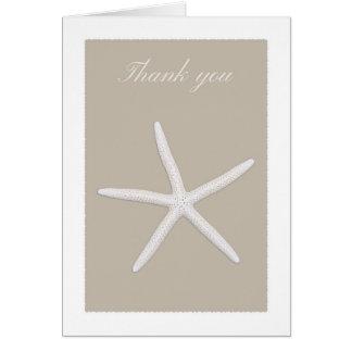 Cartões de agradecimentos da estrela de mar branco