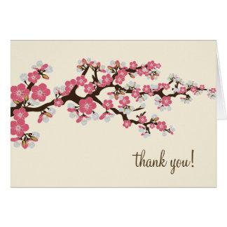Cartões de agradecimentos da flor de cerejeira com