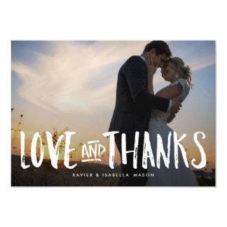 Cartões de agradecimentos da foto do amor escovado convite 12.7 x 17.78cm