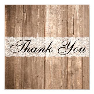 Cartões de agradecimentos da madeira de Brown do Convite Quadrado 13.35 X 13.35cm