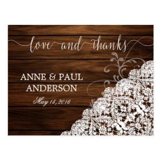 Cartões de agradecimentos da madeira & do laço