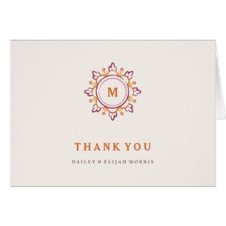 Cartões de agradecimentos da mandala - tangerina