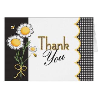 Cartões de agradecimentos da margarida e da abelha