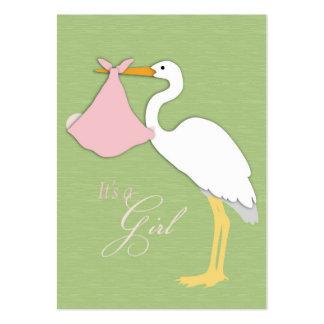 Cartões de agradecimentos da menina da cegonha cartão de visita grande