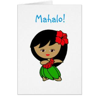 Cartões de agradecimentos da menina de Hula