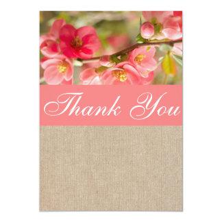 Cartões de agradecimentos da peônia/serapilheira convite 12.7 x 17.78cm