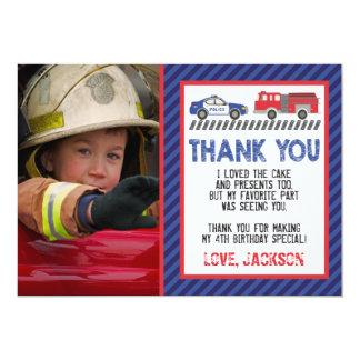 Cartões de agradecimentos da polícia e do fogo com