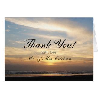 Cartões de agradecimentos da praia do por do sol