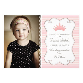 Cartões de agradecimentos da princesa Aniversário Convites Personalizado