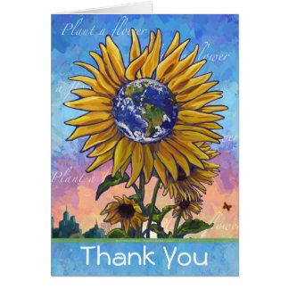 Cartões de agradecimentos da terra do girassol