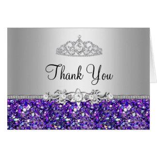 Cartões de agradecimentos da tiara do brilho roxo