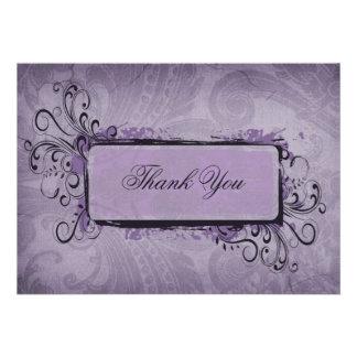 cartões de agradecimentos da violeta do vintage convites personalizado