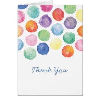 Cartões de agradecimentos das bolinhas da aguarela