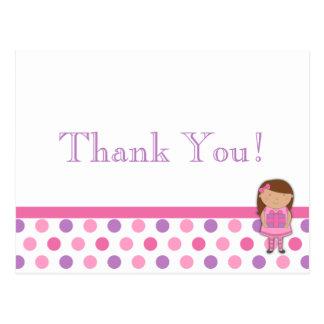 Cartões de agradecimentos das bolinhas da menina cartão postal