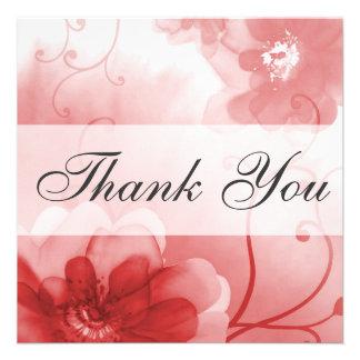 Cartões de agradecimentos das flores de escarlate convite personalizados