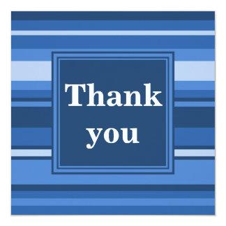 Cartões de agradecimentos das listras azuis convite quadrado 13.35 x 13.35cm