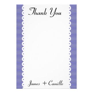 Cartões de agradecimentos das riscas dos azuis mar convite personalizados