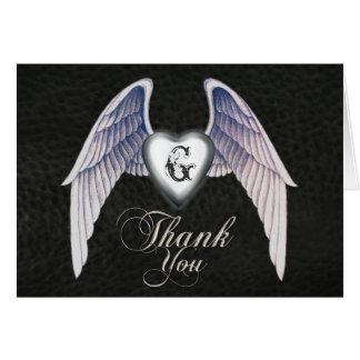 Cartões de agradecimentos de couro do cromo & do