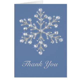Cartões de agradecimentos de cristal do floco de n