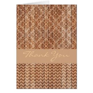 Cartões de agradecimentos de madeira cinzelados