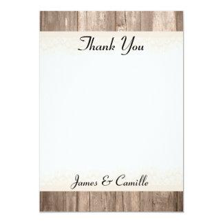 Cartões de agradecimentos de madeira laçado do convite 12.7 x 17.78cm