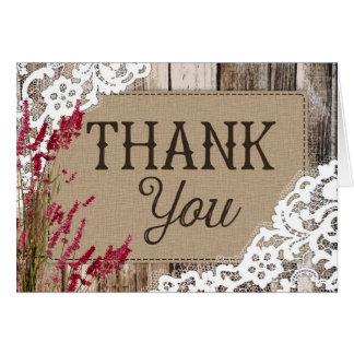 Cartões de agradecimentos de madeira rústicos do