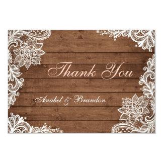 Cartões de agradecimentos de madeira rústicos do convite 8.89 x 12.7cm