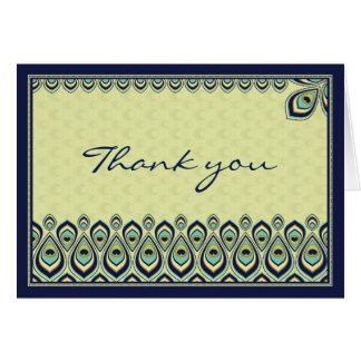 Cartões de agradecimentos de Nouveau do pavão