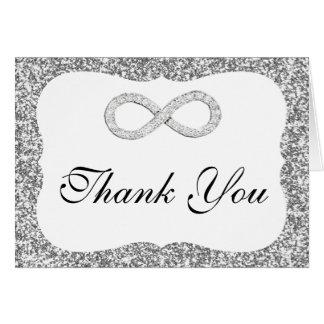 Cartões de agradecimentos de prata da infinidade