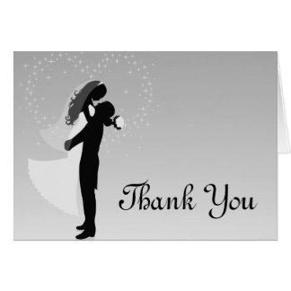 Cartões de agradecimentos de prata da silhueta de