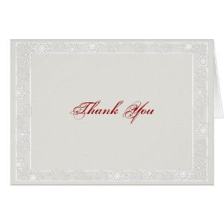 Cartões de agradecimentos de prata e brancos do