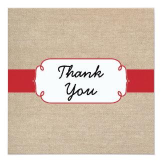 Cartões de agradecimentos de serapilheira do convite quadrado 13.35 x 13.35cm