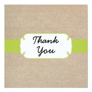 Cartões de agradecimentos de serapilheira do verde convite quadrado 13.35 x 13.35cm