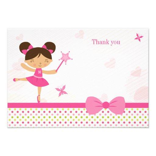 Cartões de agradecimentos do aniversário da menina convite personalizados