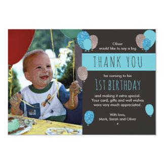 Cartões de agradecimentos do aniversário do balão convite 12.7 x 17.78cm