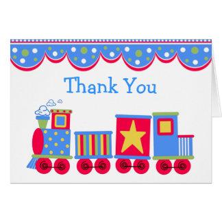 Cartões de agradecimentos do bebê do trem do