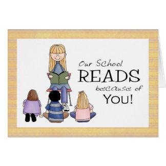 Cartões de agradecimentos do bibliotecário de