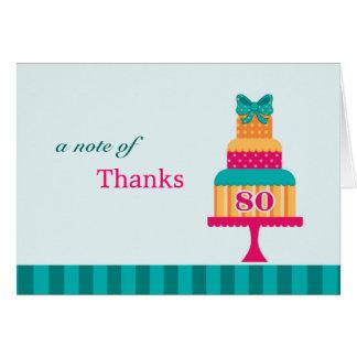 cartões de agradecimentos do bolo da festa de