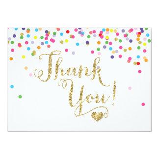 Cartões de agradecimentos do brilho do ouro dos